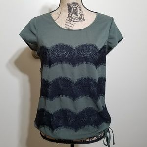 The Limited Olive Green Cap Sleeve Lacey Top Small